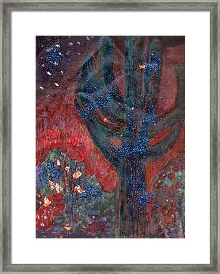 Cactus At Night In The Dark Yet Bright Framed Print by Anne-Elizabeth Whiteway