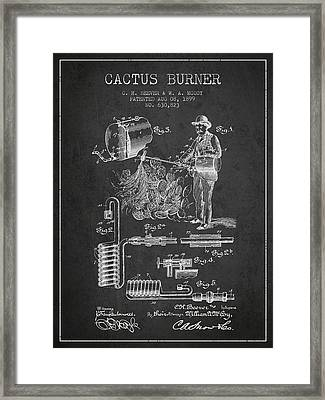 Cactus Burner Patent From 1899 - Charcoal Framed Print