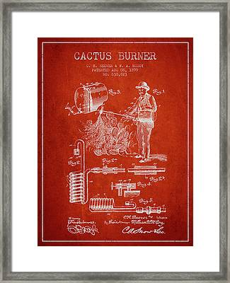 Cactus Burner Patent From 1899 - Red Framed Print