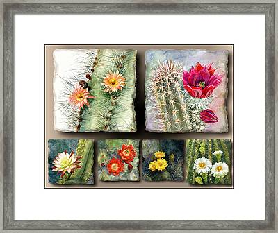 Framed Print featuring the painting Cactus Collage 10 by Marilyn Smith