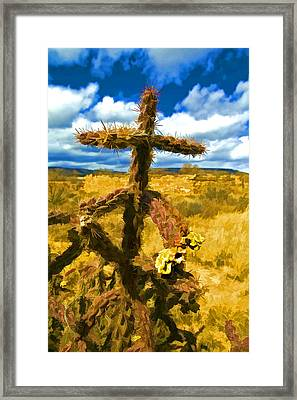 Cactus Cross Framed Print by Lou  Novick