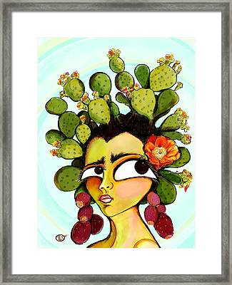Cactus Flower Framed Print by Angie Snapp