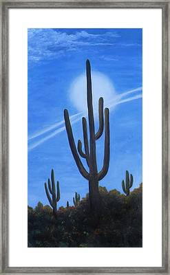 Framed Print featuring the painting Cactus Halo by Judy Filarecki