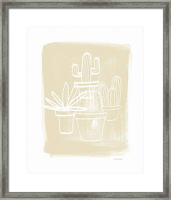 Cactus In Pots- Art By Linda Woods Framed Print