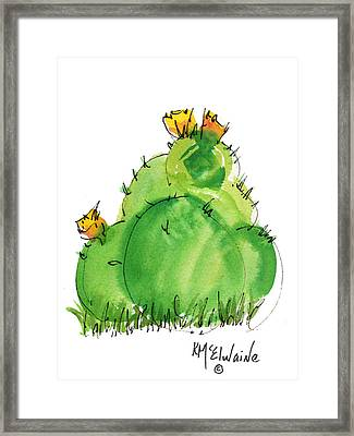 Cactus In The Yellow Flower Watercolor Painting By Kmcelwaine Framed Print by Kathleen McElwaine