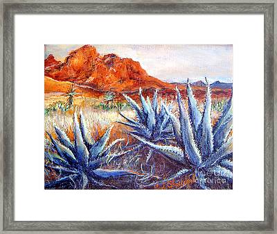 Framed Print featuring the painting Cactus View by Linda Shackelford