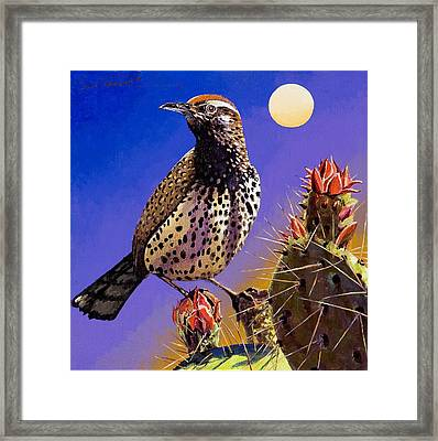 Cactus Wren Framed Print by Bob Coonts