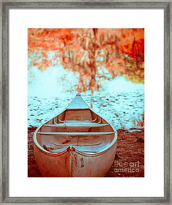 Caddo Canoe In Fall Framed Print by Sonja Quintero