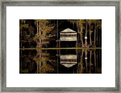 Caddo Lake Boathouse Framed Print