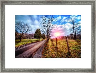 Cades Country Lane Framed Print by Debra and Dave Vanderlaan