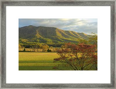 Cades Cove Autumn Sunset In Great Smoky Mountains Framed Print by Darrell Young