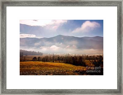 Cades Cove Misty Morn Framed Print by Marilyn Carlyle Greiner