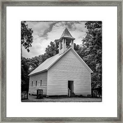 Cades Cove Primitive Baptist Church - Bw W Border Framed Print