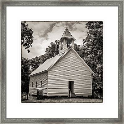 Cades Cove Primitive Baptist Church - Toned Bw W Border Framed Print