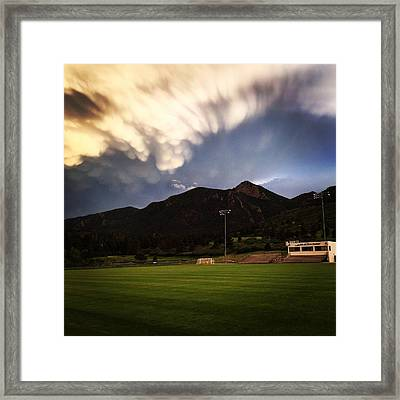 Cadet Soccer Stadium Framed Print by Christin Brodie