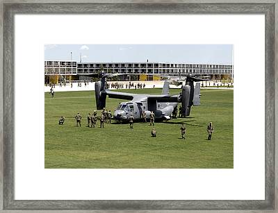 Cadets And Active-duty Troops Swarm Framed Print by Stocktrek Images