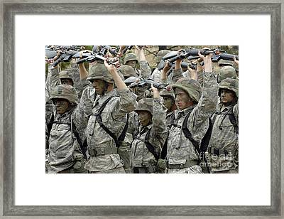 Cadets Prepare To Participate Framed Print