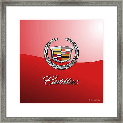 Cadillac - 3 D Badge On Red Framed Print by Serge Averbukh