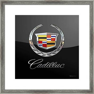 Cadillac - 3d Badge On Black Framed Print by Serge Averbukh