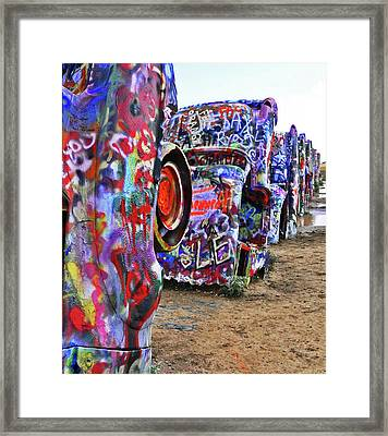 Cadillac Ranch Framed Print by Angela Wright