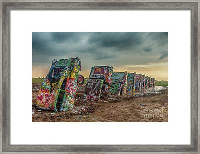Cadillac Ranch Before The Rain Framed Print