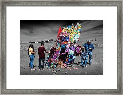 Cadillac Ranch Spray Paint Fun Along Historic Route 66 By Amarillo Texas Framed Print by Randall Nyhof
