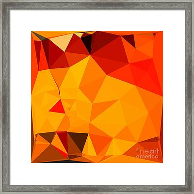 Cadmium Yellow Abstract Low Polygon Background Framed Print