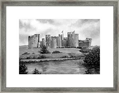 Caerphilly Castle Bw Framed Print