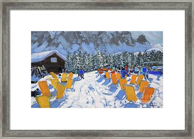 Cafe And Deckchairs, Selva Gardena, Italy  Framed Print by Andrew Macara