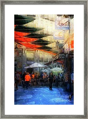 Cafe And Te On A Spanish Street Framed Print