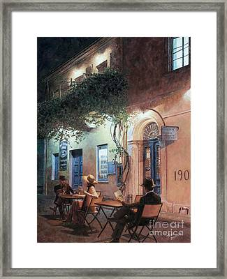 Cafe At Night Framed Print by Theo Michael