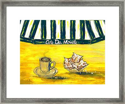 Cafe Au Lait And Beignets On Yellow Background Framed Print by Catherine Wilson