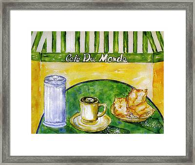 Cafe Au Lait And Beignets With Sugar Framed Print by Catherine Wilson