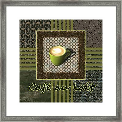 Cafe Au Lait - Coffee Art - Green Framed Print