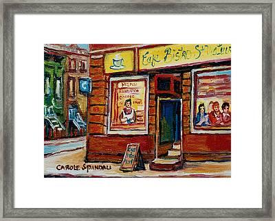 Cafe Bistro St. Viateur Framed Print by Carole Spandau
