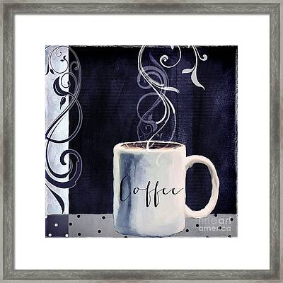 Cafe Blue I Framed Print by Mindy Sommers
