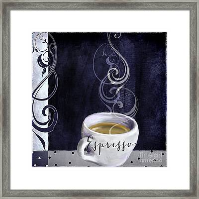 Cafe Blue Iv Framed Print by Mindy Sommers