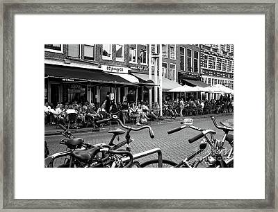 Cafe Crowds In Amsterdam Mono Framed Print by John Rizzuto