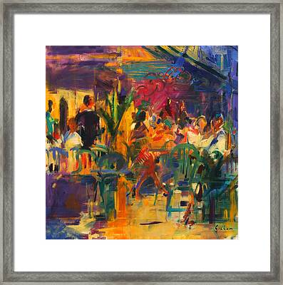 Cafe De La Place  St Paul De Vence Framed Print by Peter Graham