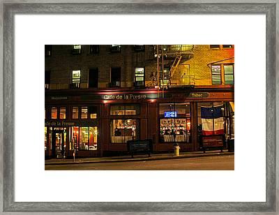 Cafe De La Presse On Bush St Framed Print