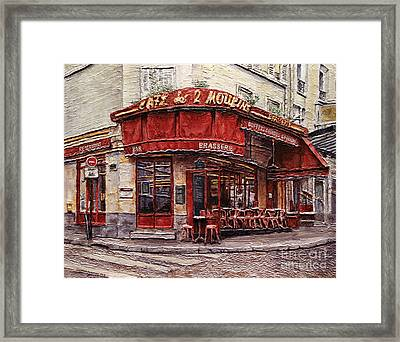 Cafe Des 2 Moulins- Paris Framed Print