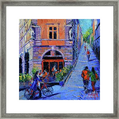 Cafe Du Soleil Lyon Framed Print by Mona Edulesco