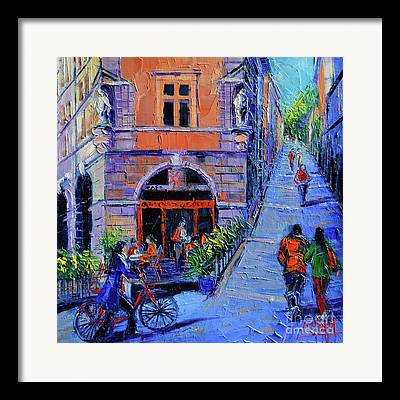 Cafe Terrace Mixed Media Framed Prints