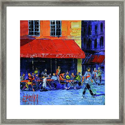 Cafe Gargouille Framed Print by Mona Edulesco