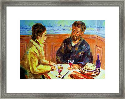 Cafe  Homage  De Pierre Auguste Framed Print by Carole Spandau