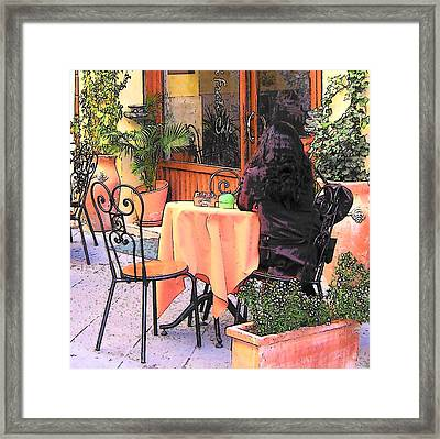 Cafe In Montepulciano Tuscany Framed Print by Jan Matson