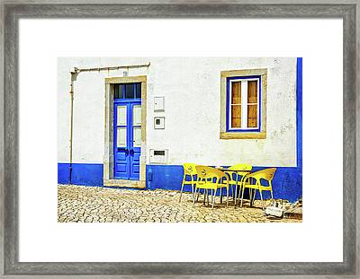 Framed Print featuring the photograph Cafe In Portugal by Marion McCristall