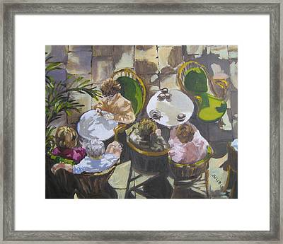 Framed Print featuring the painting Cafe by Julie Todd-Cundiff