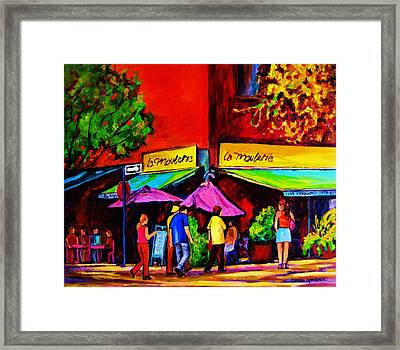 Cafe La Moulerie On Bernard Framed Print by Carole Spandau