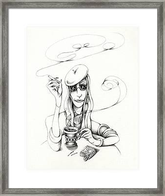 Cafe Lady Framed Print